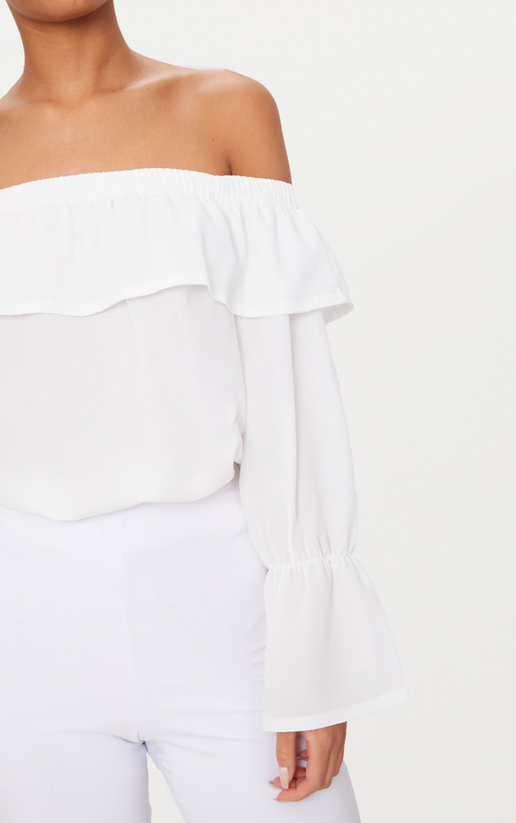 White Chiffon Frill Detail Bardot Top  5