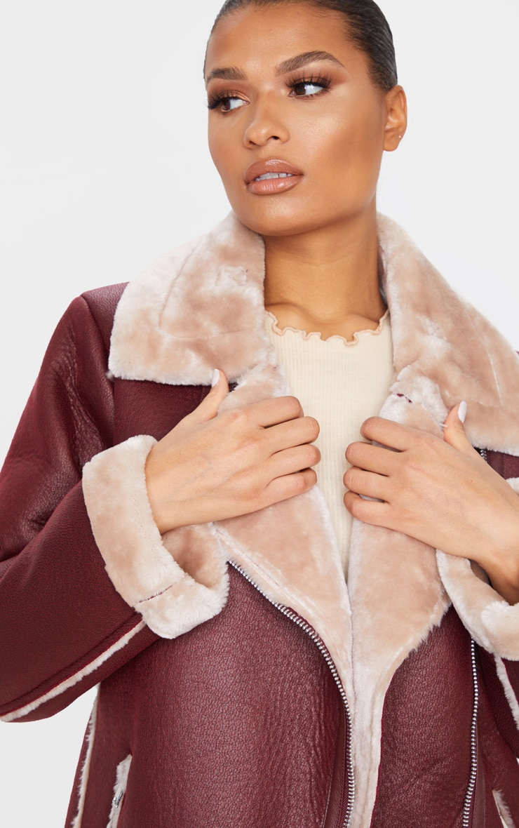 Burgundy PU Oversized Aviator Jacket 5