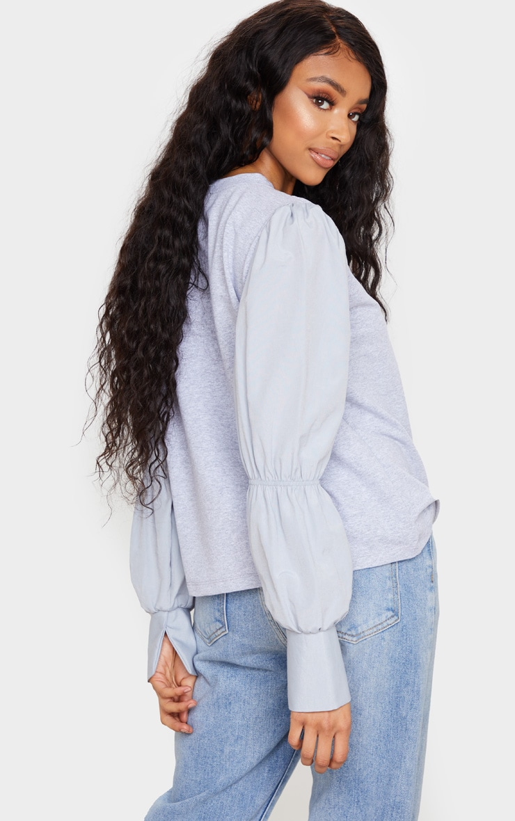 Grey Marl Ruched Longsleeve Top 2