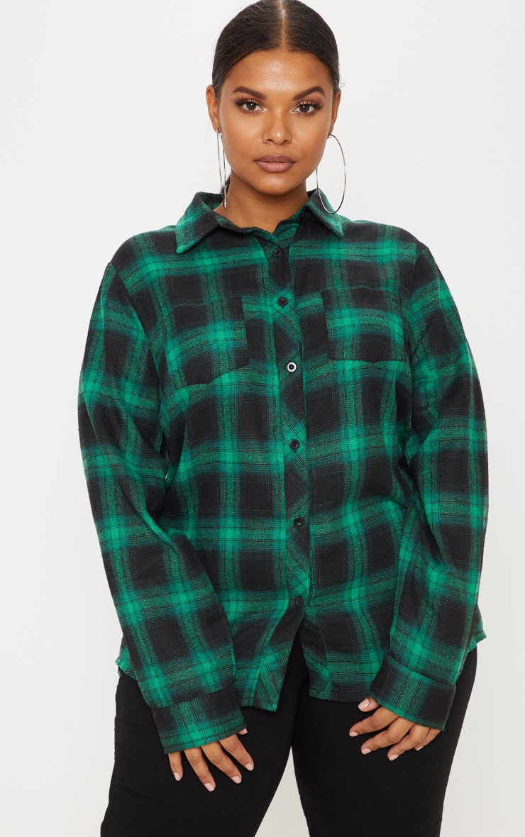 Plus Green Tartan Oversized Shirt 4