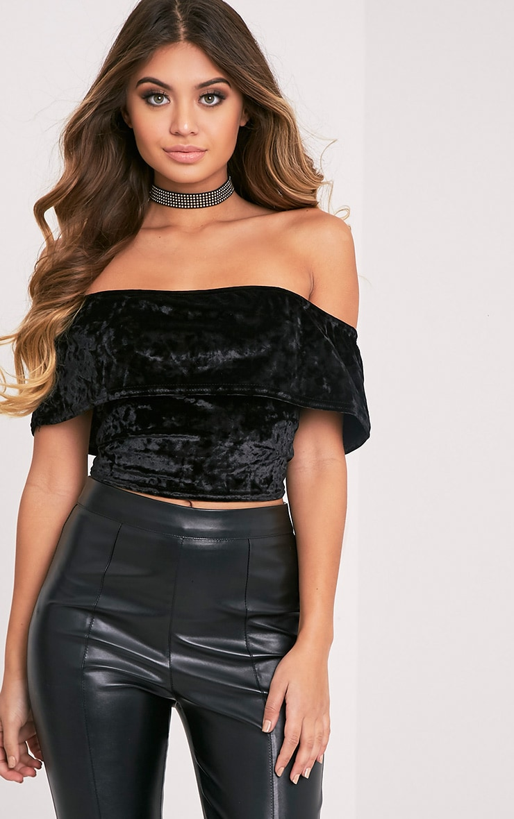 Charl Black Crushed Velvet Bardot Crop Top 1
