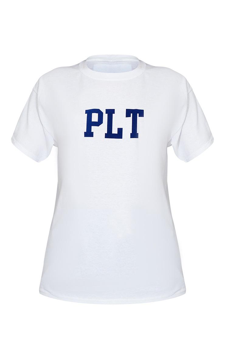 PRETTYLITTLETHING White Block Print T Shirt 5