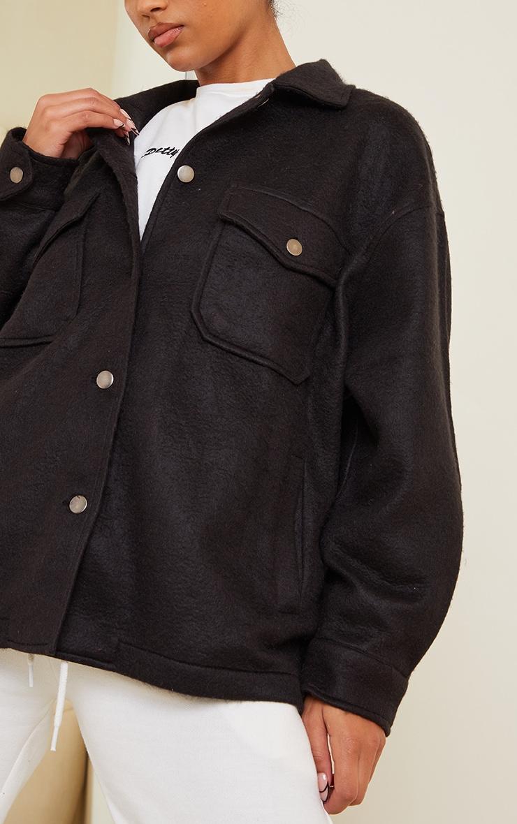 Black Pocket Front Shacket 4