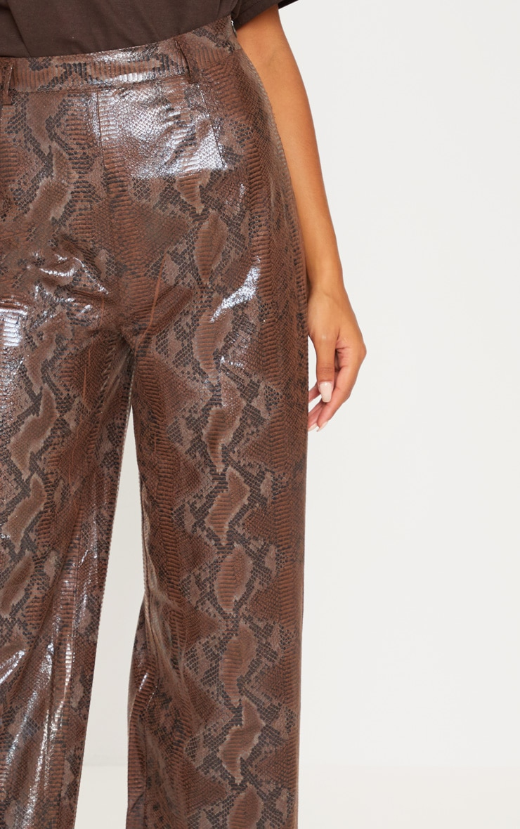 Dark Brown Faux Leather Snakeskin Wide Leg Pants 5