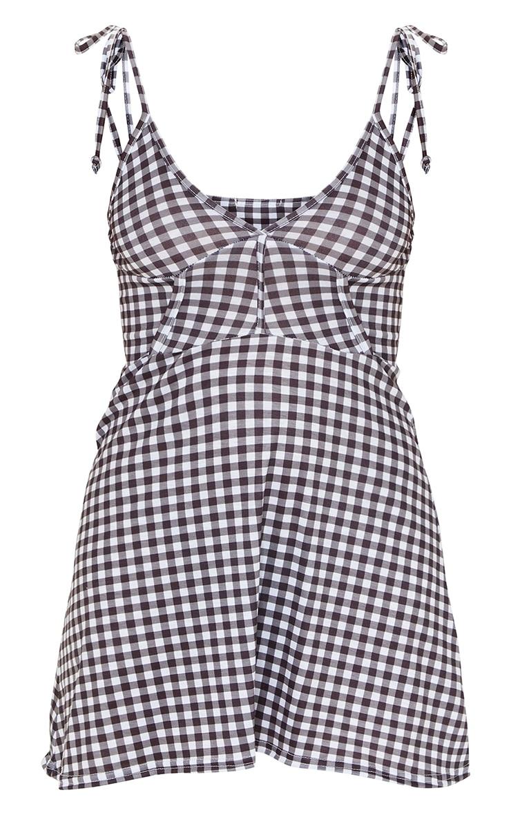 Black Gingham Print Binding Detail Tie Strap Shift Dress 5