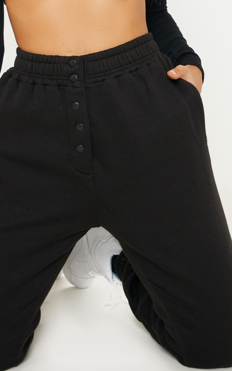 Black Popper Front Track Pants 5