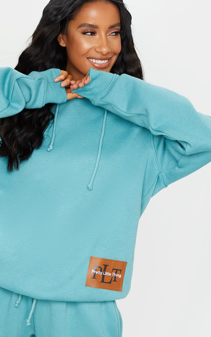 PRETTYLITTLETHING Turquoise Badge Oversized Hoodie 4