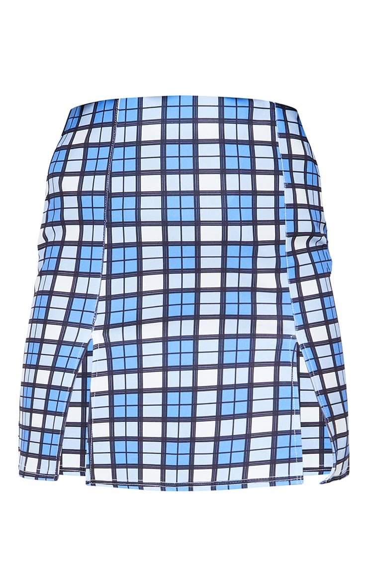 Blue Check A Line Skirt 6