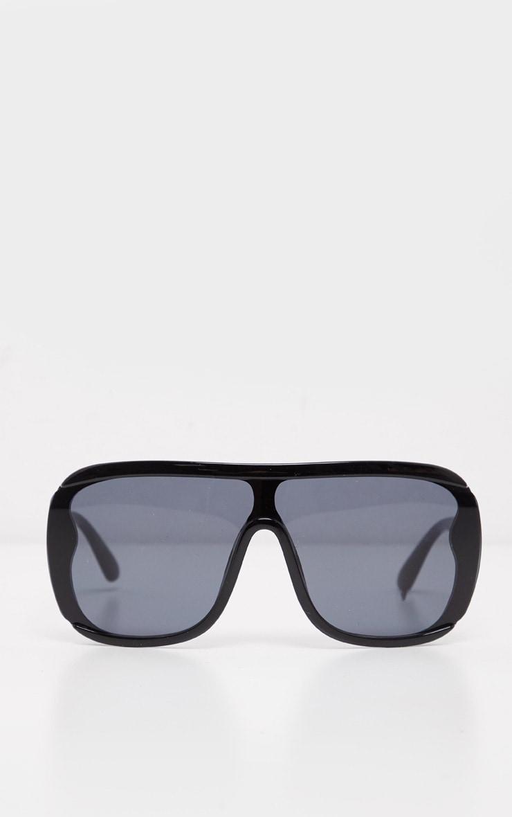 Black Flat Top Matt Resin Frameless Sunglasses 2