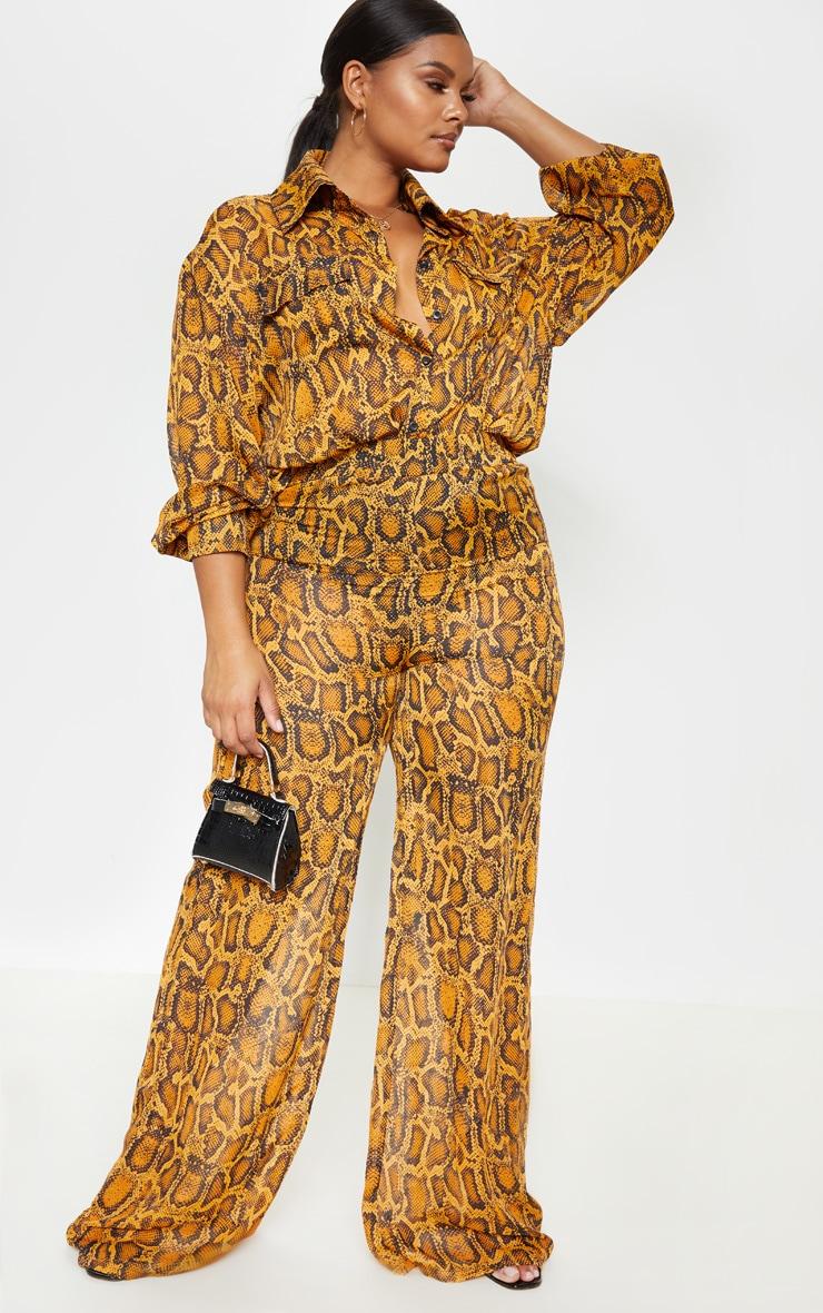 Plus Orange Sheer Snake Print High Waisted Wide Leg Trouser  1