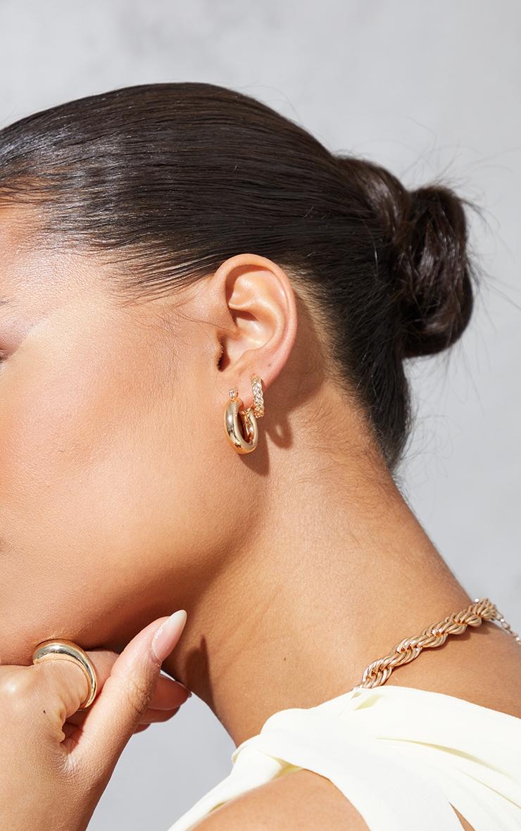 Gold Dainty Assorted 3 Pack Mini Hoop Earrings 1