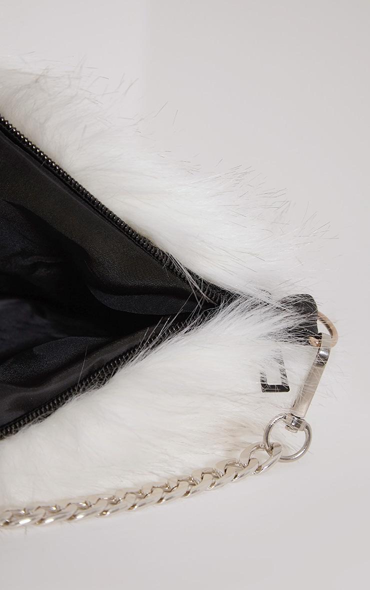 Christah White Faux Fur Chain Shoulder Bag 5
