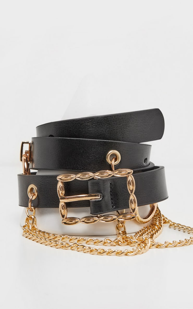 Black PU Rings And Chains Slim Waist Belt 2
