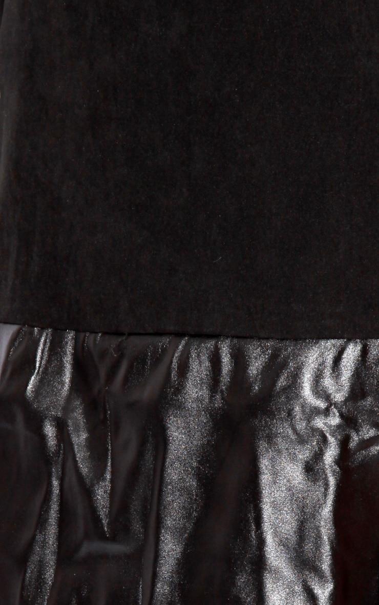 Emily Black PU Panel Shift Dress 5