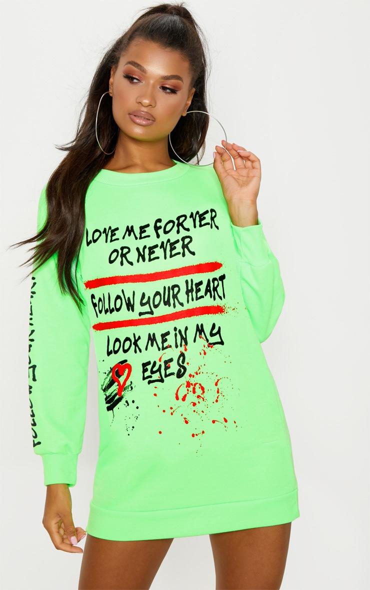 Neon Green  Oversized Slogan Jumper Dress 4