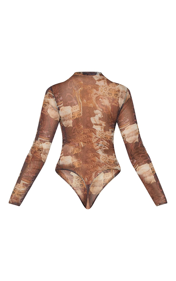 Brown Animal Renaissance Printed Mesh Ruched Front Long Sleeve Bodysuit 6