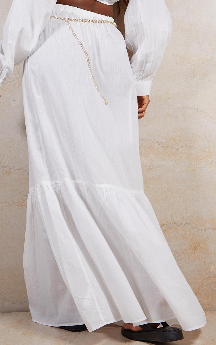 White Linen Feel Maxi Skirt 3