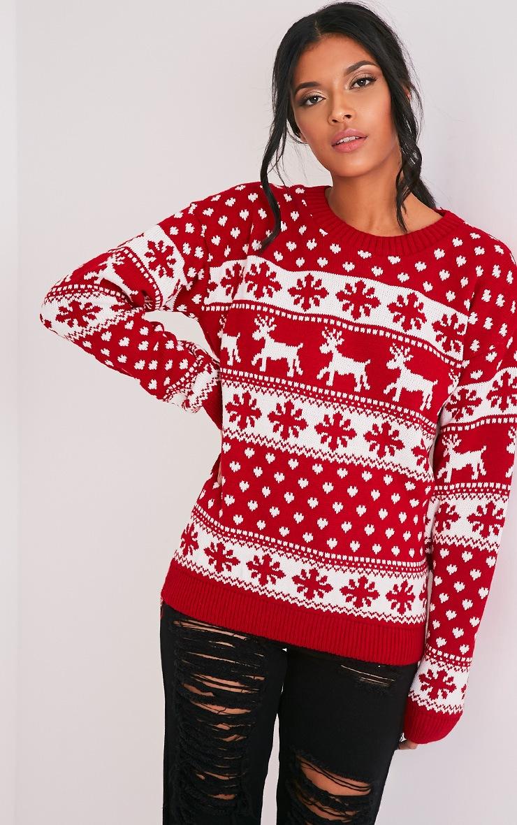 Snowflake/Reindeer Red Mix Christmas Jumper 1
