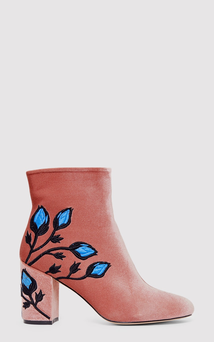 Nicola Blush Embroidered Velvet Ankle Boots 1