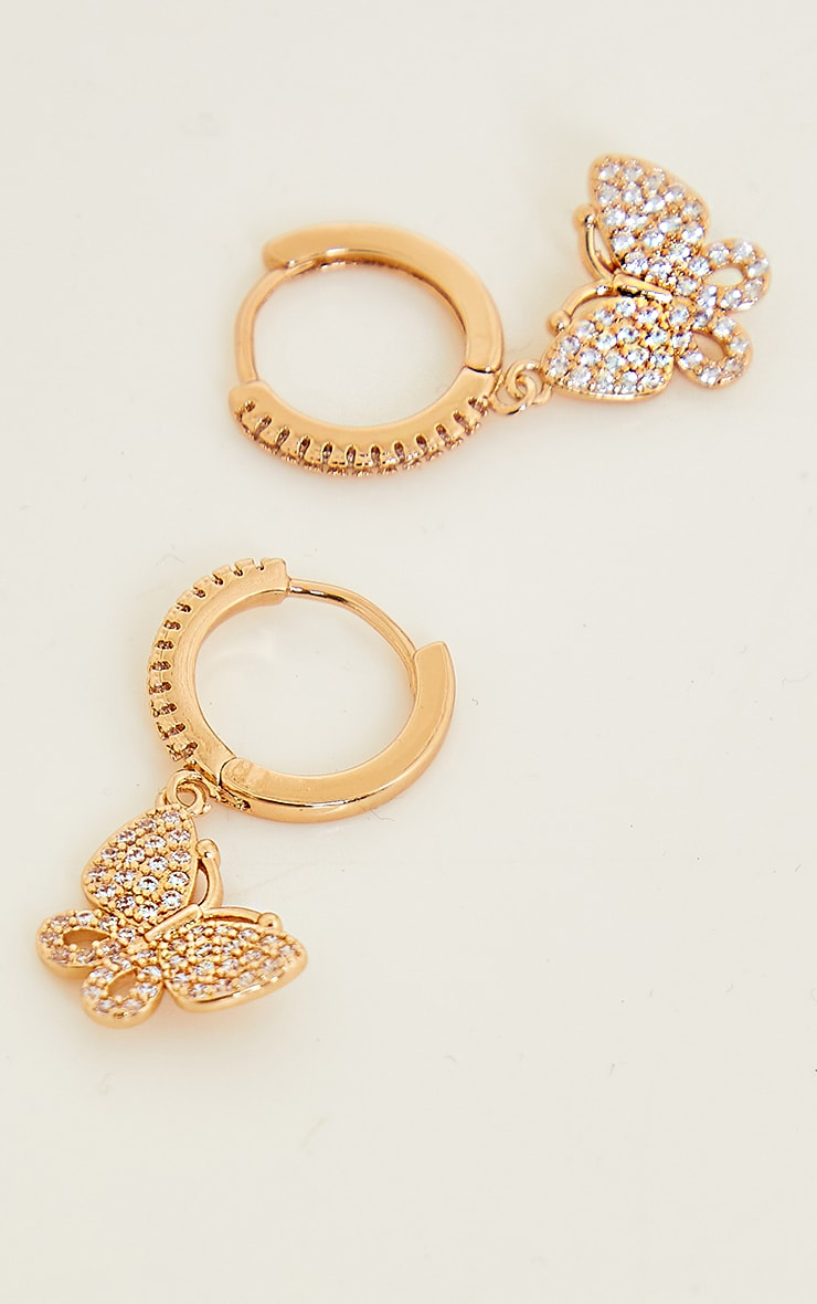 Gold Mini Hoop With Butterfly Earrings 1