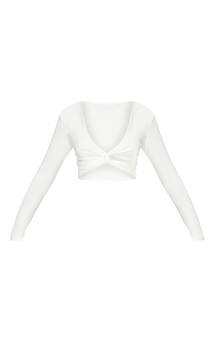 White Slinky Twist Front Long Sleeve Crop Top 3