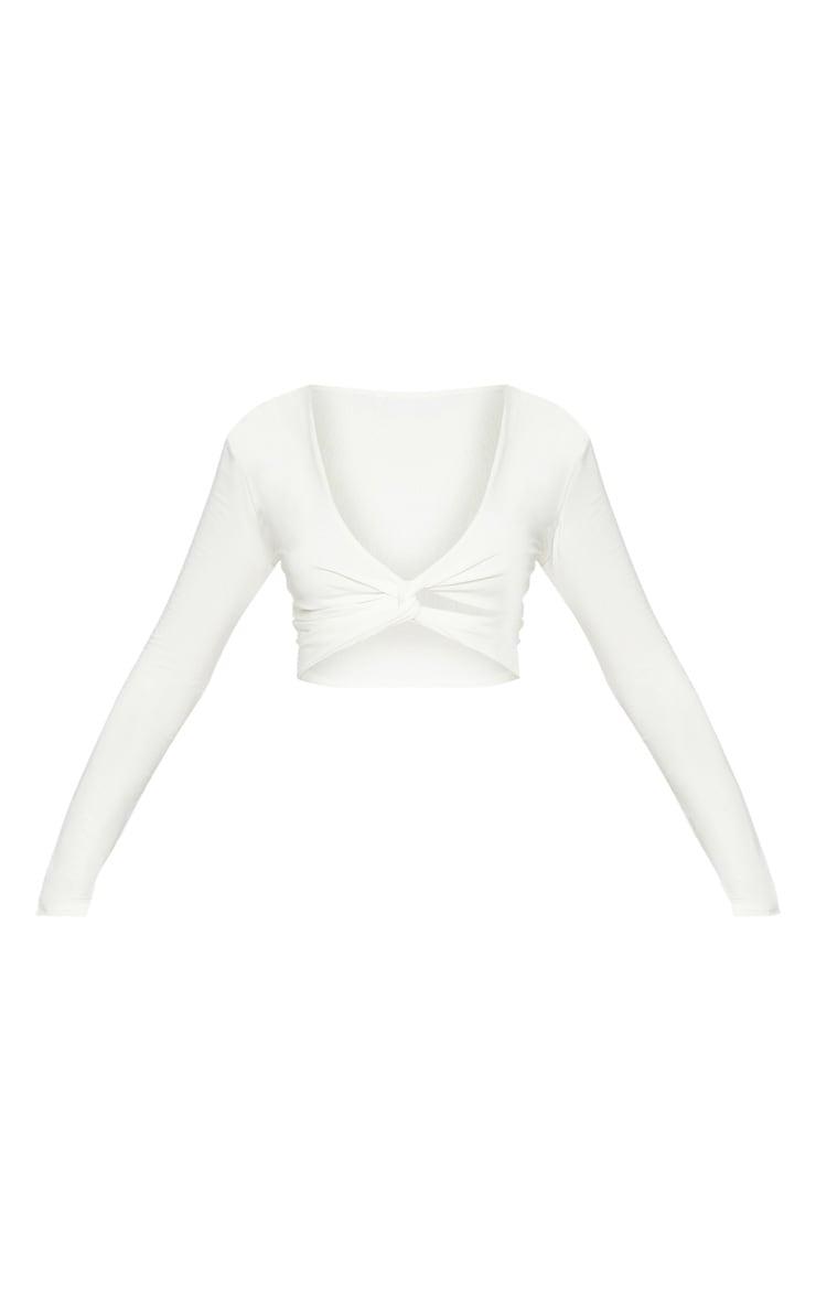 White Slinky Twist Front Long Sleeve Crop Top 3