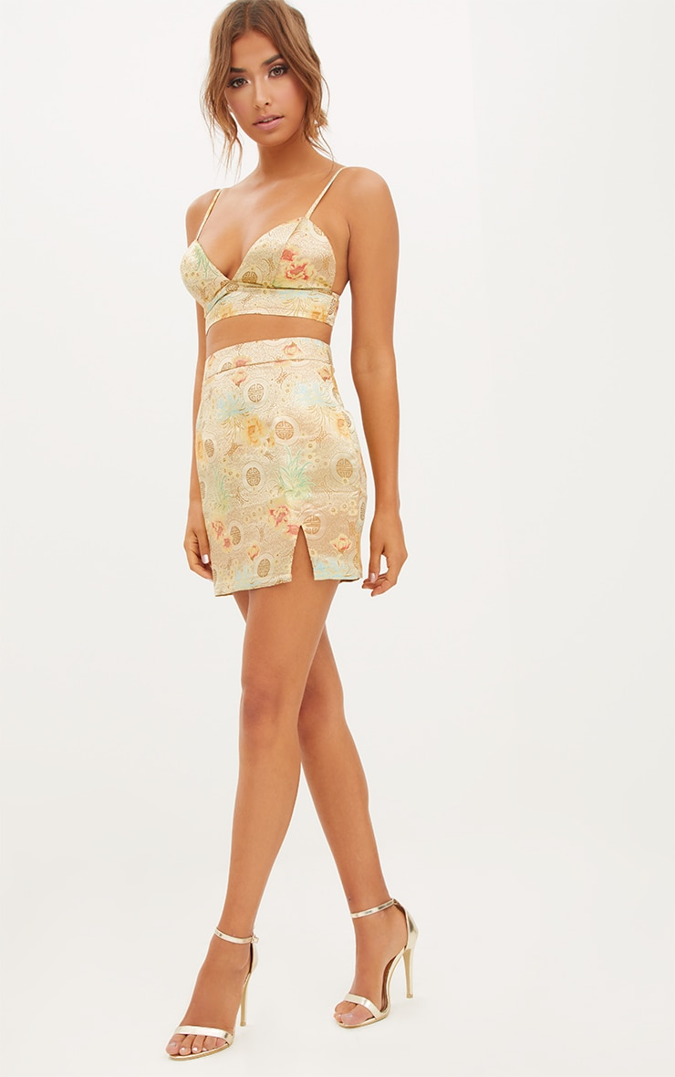 Gold Oriental Jacquard Split Mini Skirt  5