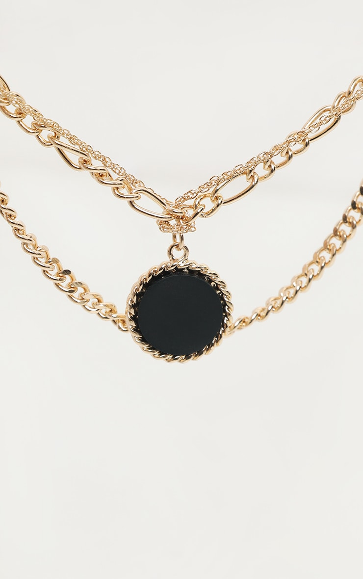 Gold Triple Chain Black Stone Layering Necklace 3