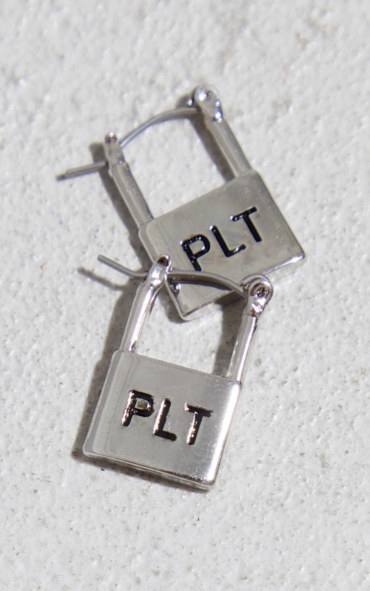 PRETTYLITTLETHING Silver Embossed Padlock Hoop Earrings 3