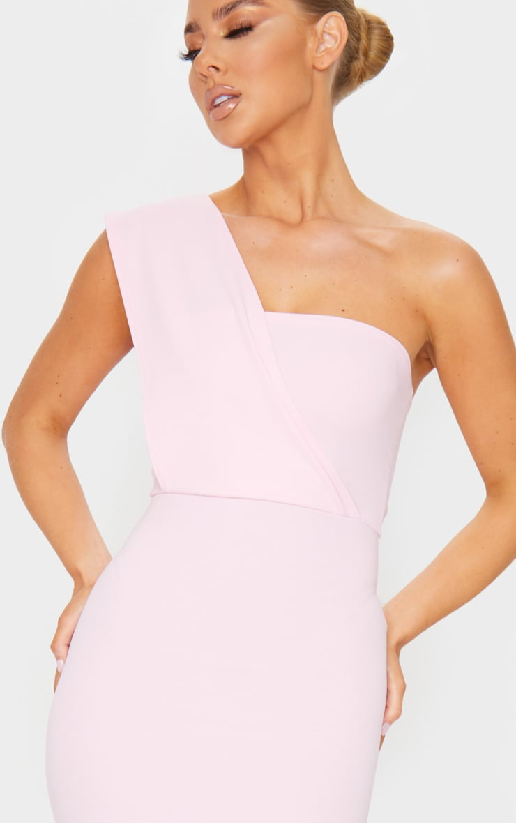 Baby Pink One Shoulder Maxi Dress 4