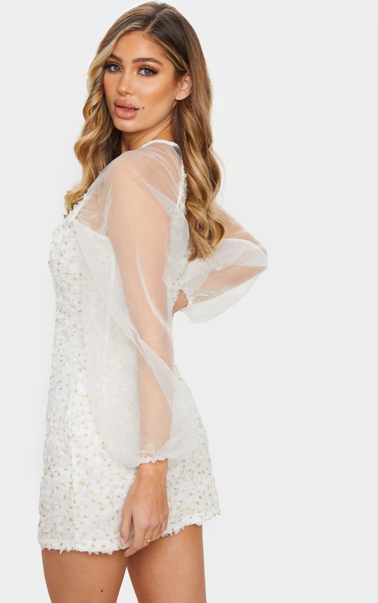 White Floral Applique Organza Sleeve Shift Dress 3