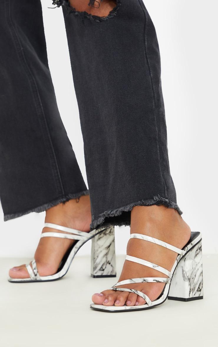 Marble Block Heel Strappy Mule Sandal 1