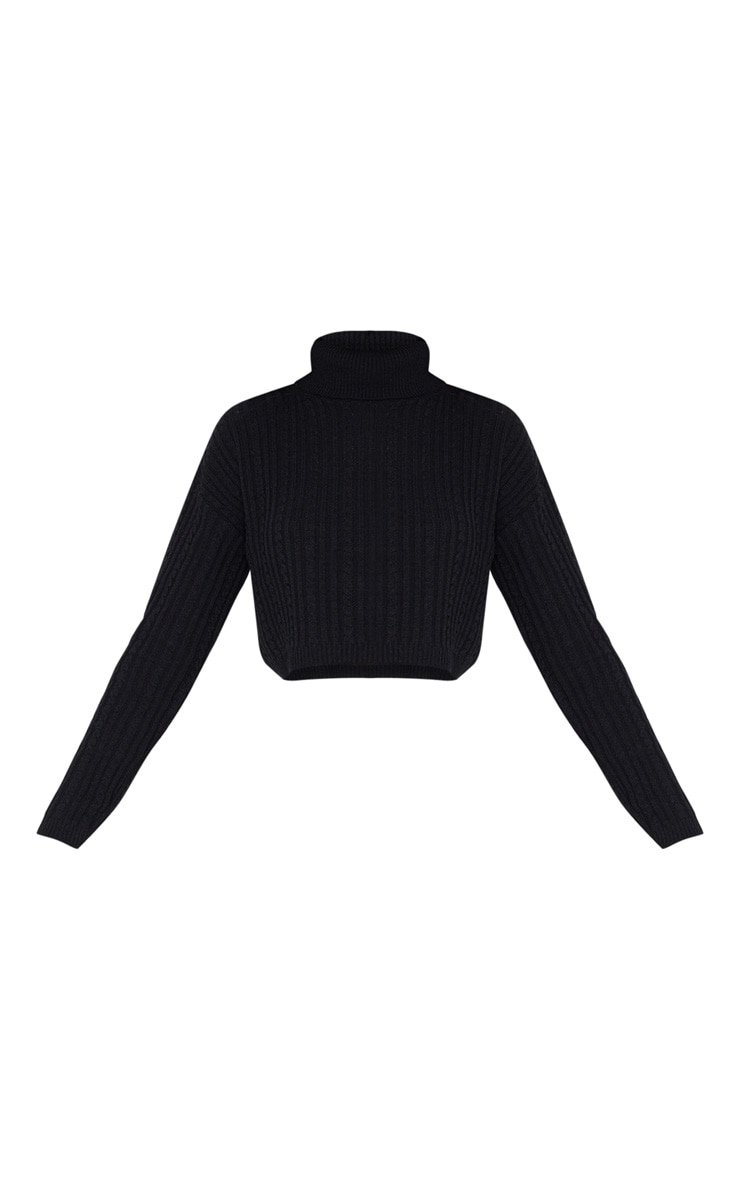 Black Roll Neck Cable Knit Cropped Sweater 3