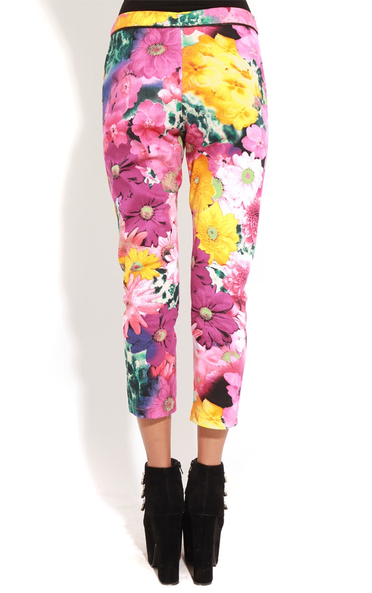 Olive Floral Cropped Jeans  2
