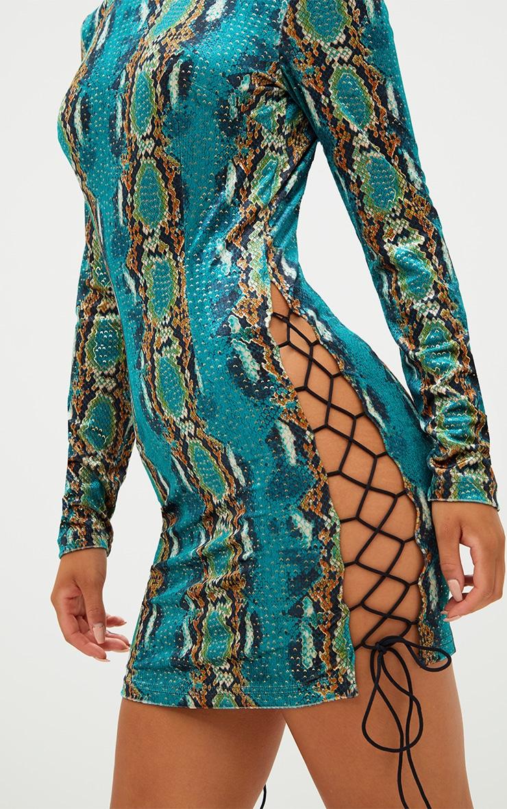 Green Velvet Snake Print Side Lace Up Bodycon Dress 5