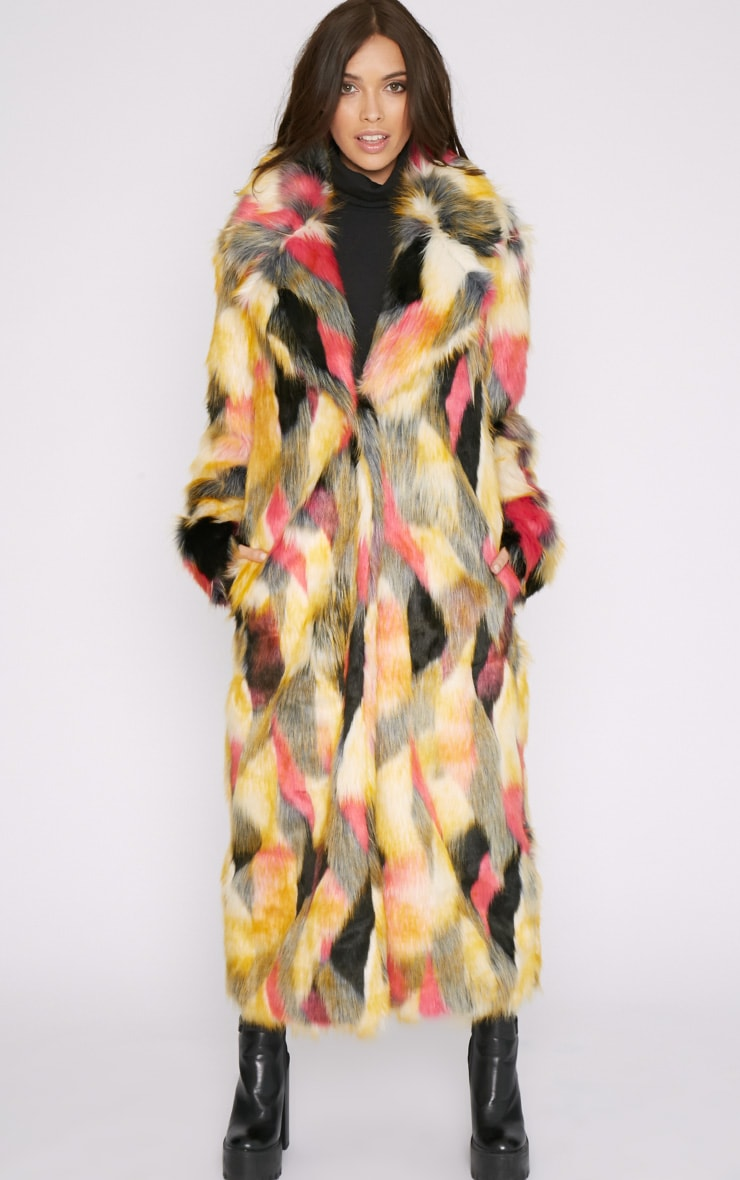Mirabelle Multi-Coloured Longline Faux Fur Coat 5