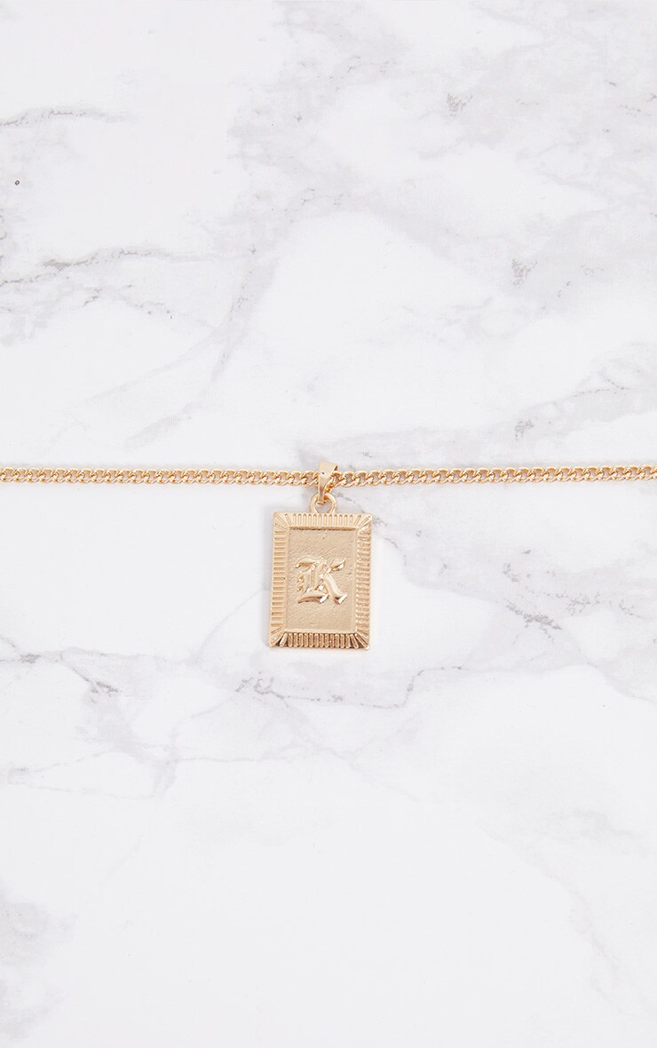 Gold Square Letter K Pendant Necklace 3