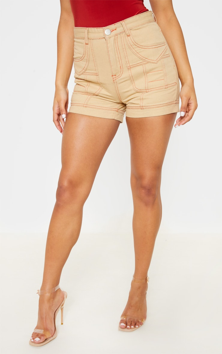 Sand Neon Orange Utility Stitched Detail Denim Shorts 2