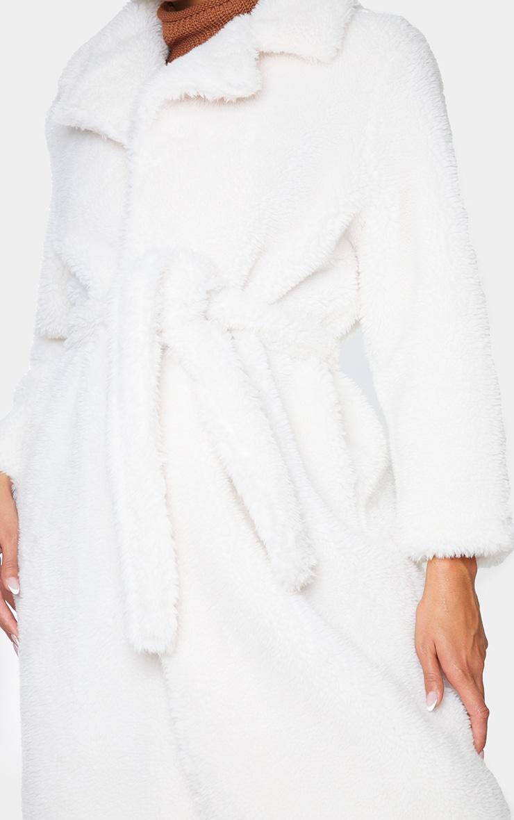 Cream Long Teddy Faux Fur Belted Coat 4