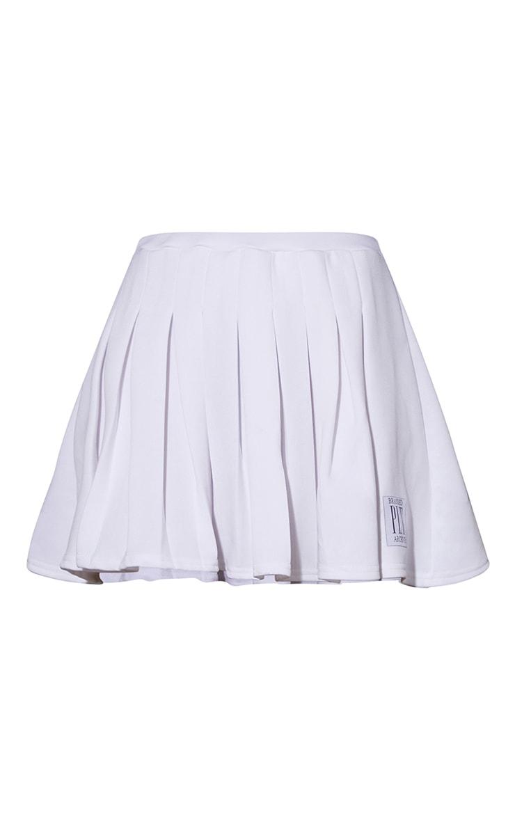 PRETTYLITTLETHING White Badge Pleated Skater Skirt 6