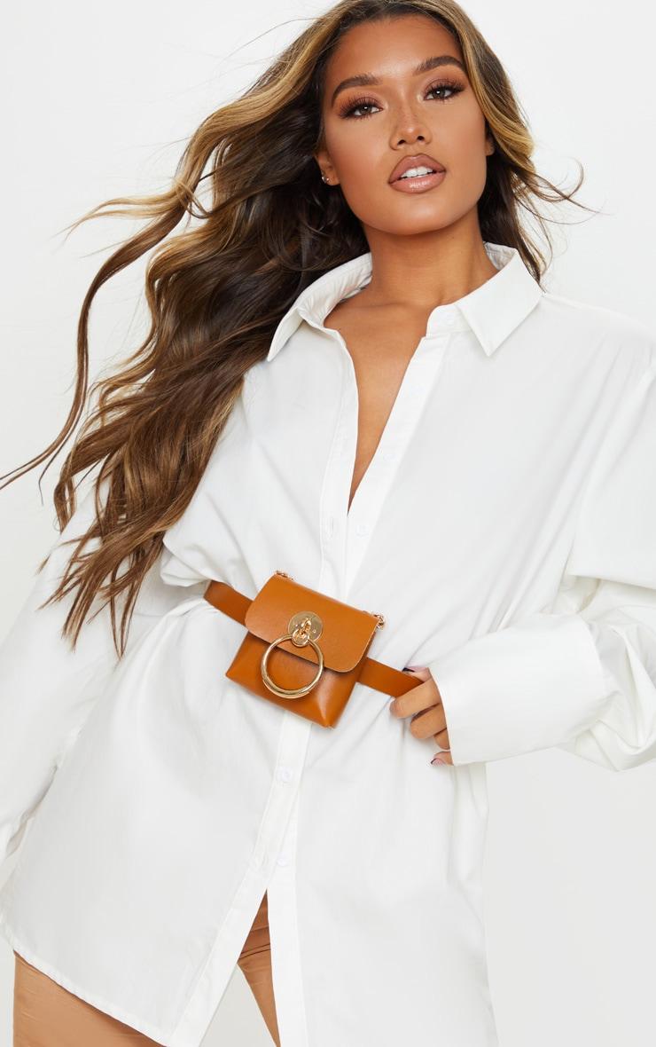 Tan PU Door Knocker Trim Multiwear Belt Bag 1