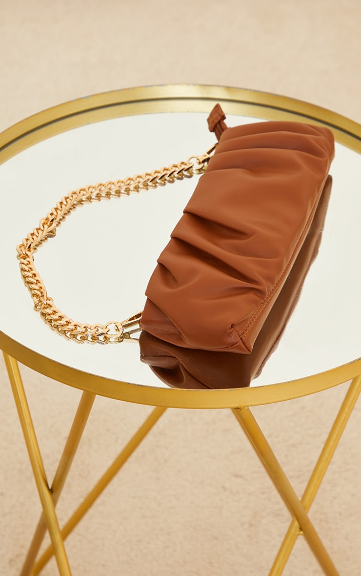 Chocolate Ruched Front Baguette Shoulder Bag 2