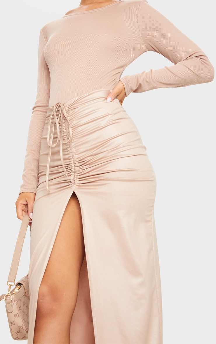 Stone Coated Ruched Split Front Midaxi Skirt 4