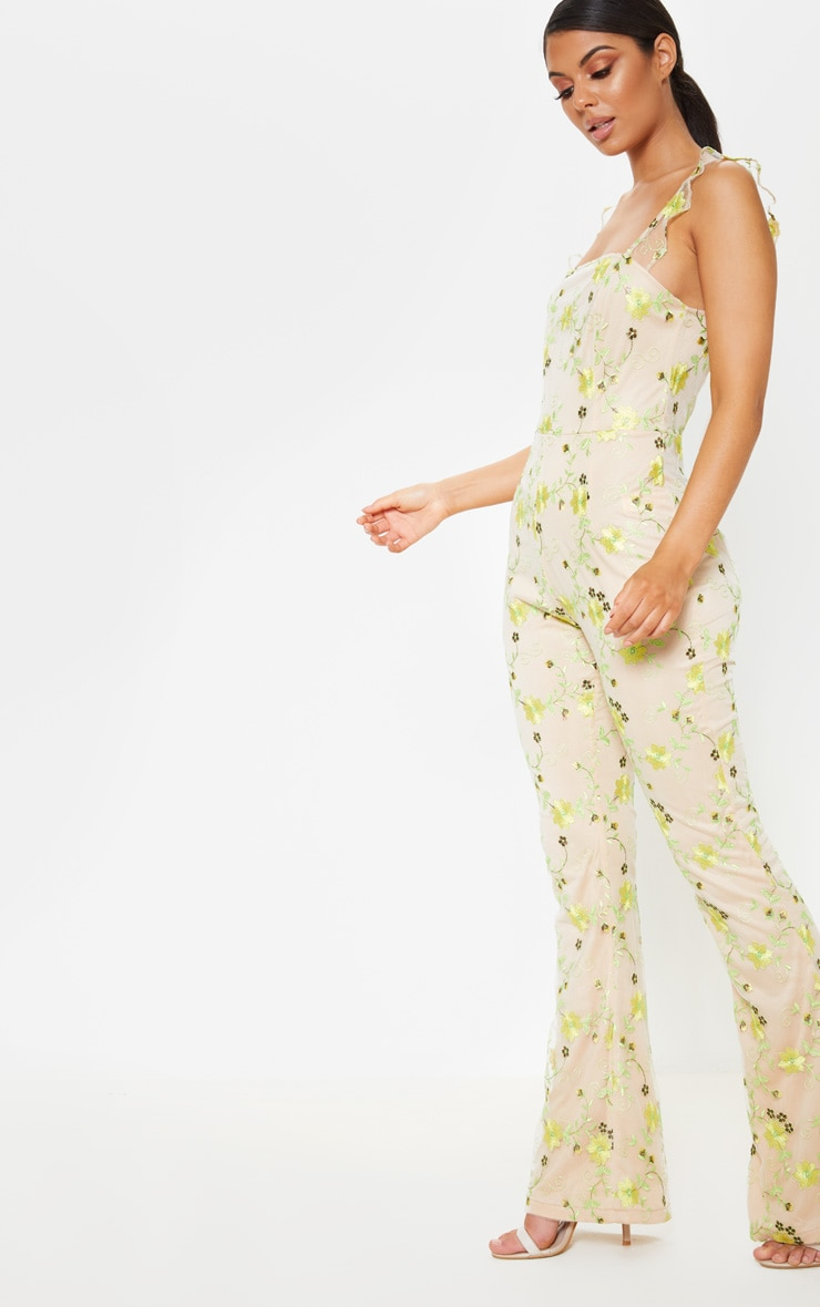 Yellow Floral Embroidered Sleeveless Flared Leg Jumpsuit 4