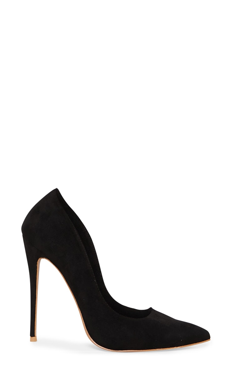 Black High Faux Suede Court 3