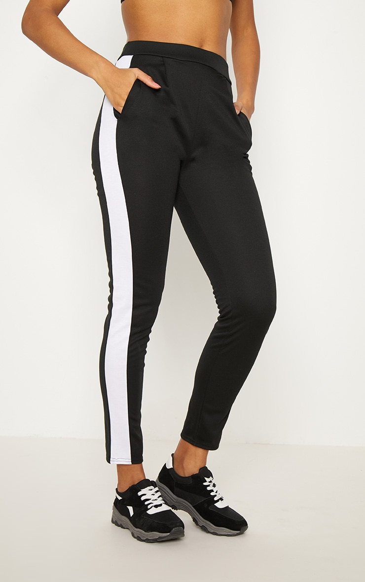 Black Ponte Contrast Side Stripe Trouser   2