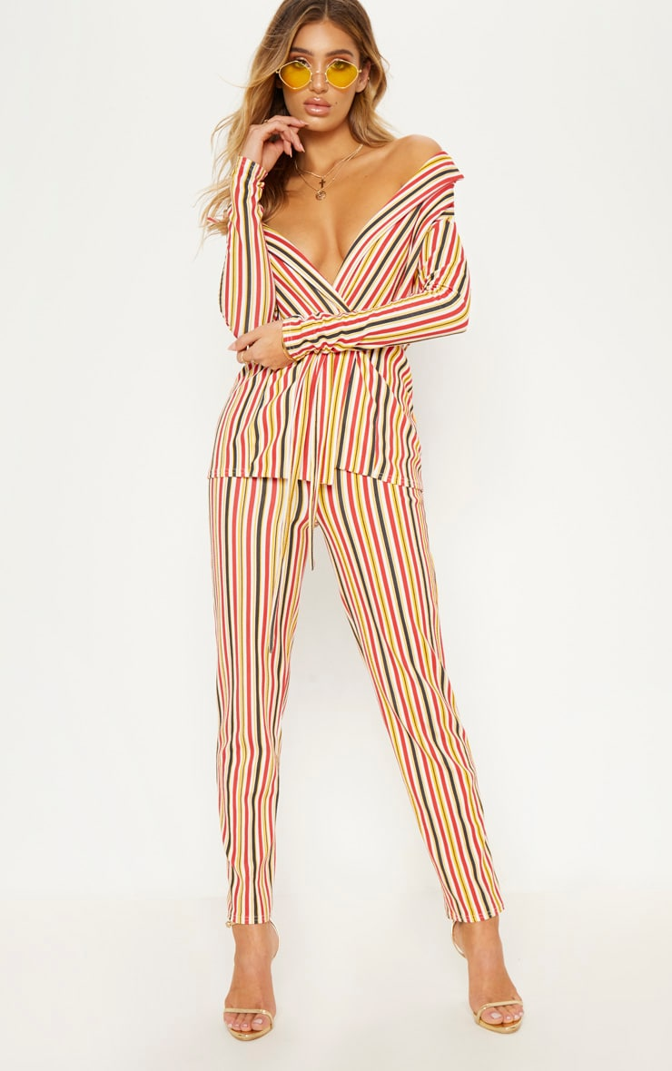 Mustard Striped Cropped Trouser