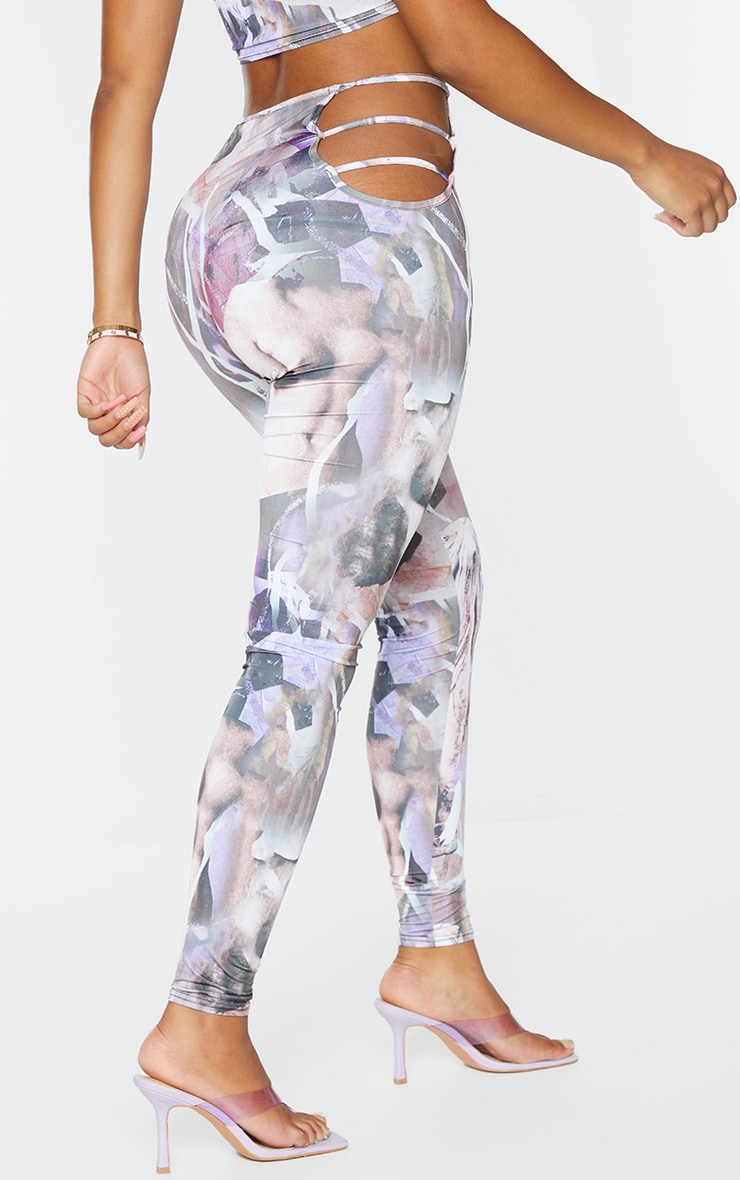 Shape Purple Renaissance Print Slinky Cut Out Side Leggings 3