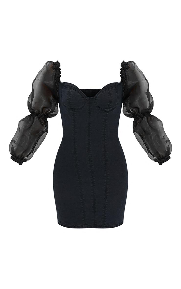 Black Organza Sleeve Denim Dress 5