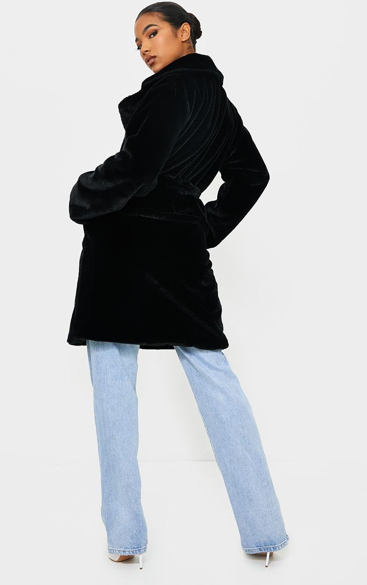 Black Soft Faux Fur Belted Midi Coat 2
